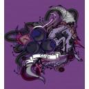 Pánské poker tričko s potiskem Clubs - Unicorn - fialová - detail